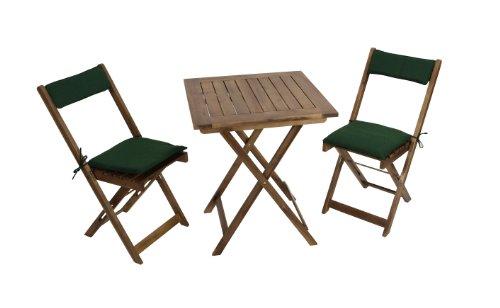balkonset kreta aus akazienholz 3 teilig mit auflage gr n tisch 60x60 online kaufen bei woonio. Black Bedroom Furniture Sets. Home Design Ideas