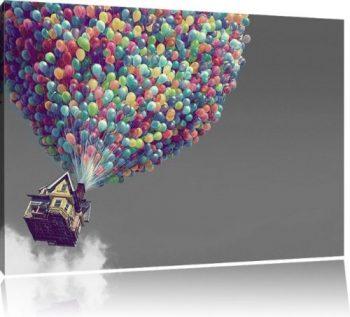 Ballons-an-Haus-Bild-auf-Leinwand-XXL-riesige-Bilder-fertig-gerahmt-mit-Keilrahmen-Kunstdruck-auf-Wandbild-mit-Rahmen-gnstiger-als-Gemlde-oder-lbild-kein-Poster-oder-Plakat-Format100x70-cm-0