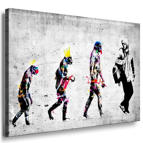 banksy evolution street art graffiti leinwand bild fertig auf keilrahmen kunstdrucke. Black Bedroom Furniture Sets. Home Design Ideas