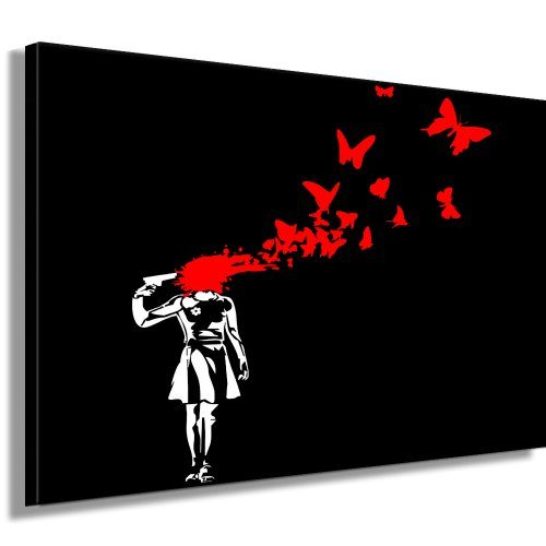 butterfly suicid banksy street art graffiti leinwand bild von artfactory24 fertig auf. Black Bedroom Furniture Sets. Home Design Ideas