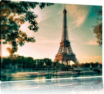 Eifelturm-Paris-Bild-auf-Leinwand-XXL-riesige-Bilder-fertig-gerahmt-mit-Keilrahmen-Kunstdruck-auf-Wandbild-mit-Rahmen-guenstiger-als-Gemaelde-oder-Bild-kein-Poster-oder-Plakat-Format100x70-cm-0
