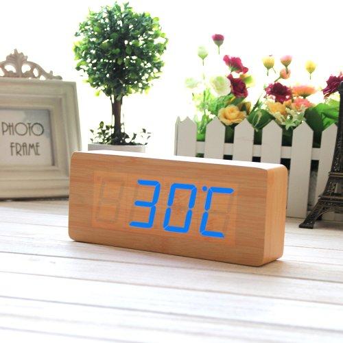 eiiox holz wecker blau led kalendar thermometer wecker mit usb kabel 0. Black Bedroom Furniture Sets. Home Design Ideas