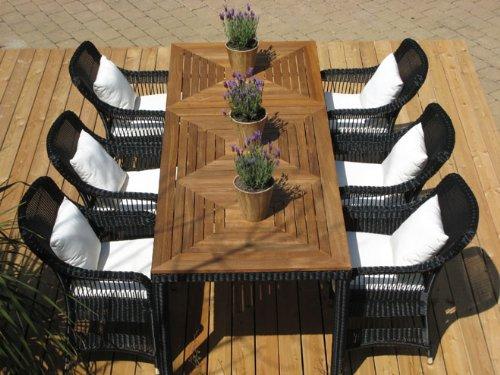 exklusive garnitur elegance schwarz 8 teilig mit teakholz tisch online kaufen bei woonio. Black Bedroom Furniture Sets. Home Design Ideas
