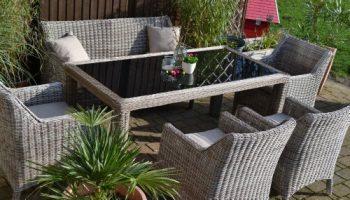 Gartenmöbel Set Tisch, Bank Und 4 Sessel Rattan Polyrattan Geflecht  U201eParis 7u2033sand Grau