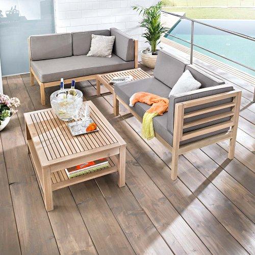 Gartenmöbel set holz grau  Gartenmöbel-Set variabel platzierbar 2 Sitzelemente 1 Gartentisch 1 ...