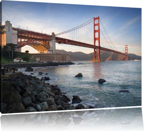 golden gate bridge san francisco usa bild auf leinwand xxl riesige bilder fertig gerahmt mit. Black Bedroom Furniture Sets. Home Design Ideas