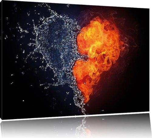 Dark herz aus feuer und wasser bild auf leinwand xxl for Kuchenbilder auf leinwand