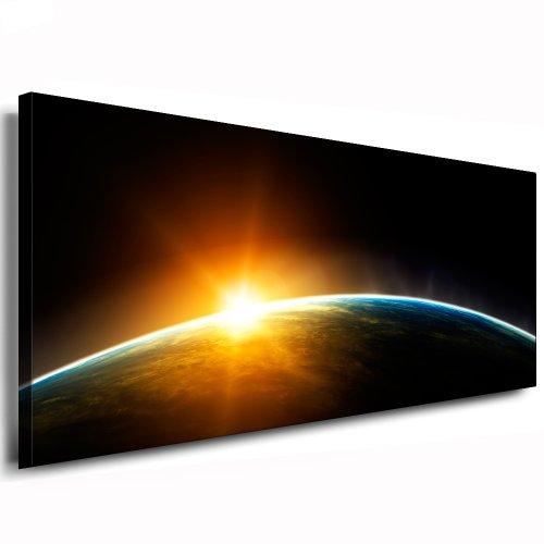 kunstdruck sonnenuntergang im weltraum bild 120x50cm leinwandbild fertig auf keilrahmen. Black Bedroom Furniture Sets. Home Design Ideas