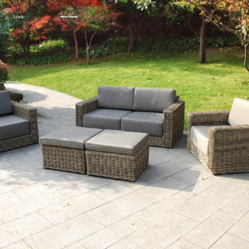 lounge set lova aus polyrattan in natur grau wetterfest. Black Bedroom Furniture Sets. Home Design Ideas