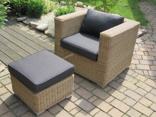 lounge wohnlandschaft 2 sessel plus 1 hocker rattan polyrattan geflecht gartenm bel natur beige. Black Bedroom Furniture Sets. Home Design Ideas