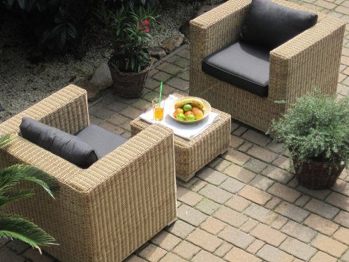 Lounge-Wohnlandschaft-2-Sessel-plus-1-Hocker-Rattan-Polyrattan ...
