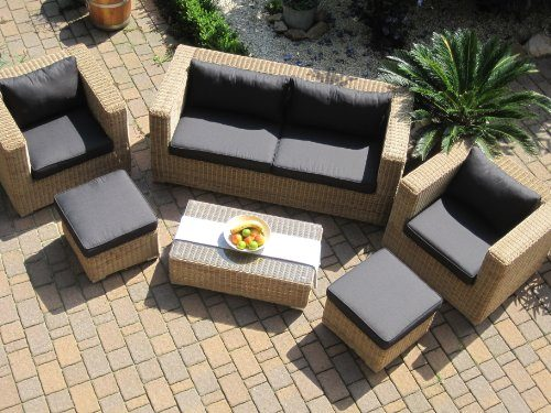 lounge wohnlandschaft sofa 2 sessel tisch 2 hocker rattan polyrattan geflecht gartenm bel natur. Black Bedroom Furniture Sets. Home Design Ideas