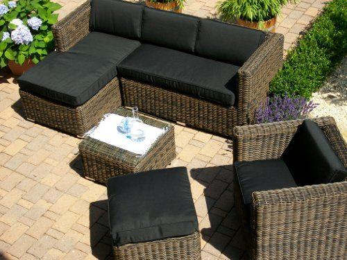 lounge wohnlandschaft sofa sessel tisch hocker rattan polyrattan geflecht gartenm bel beige. Black Bedroom Furniture Sets. Home Design Ideas