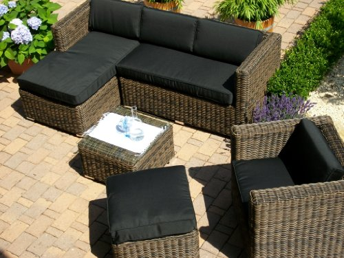 lounge wohnlandschaft sofa sessel tisch hocker rattan polyrattan geflecht gartenm bel beige. Black Bedroom Furniture Sets. Home Design Ideas
