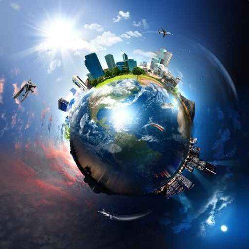 Luxus-Bild-Leinwandbild-Planet-Earth-Erde-8080-cm-Galeriequalitt-Einzelanfertigung-0