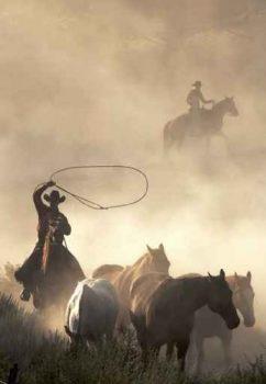 Luxus-Bild-Leinwandbild-The-Cowboy-6090-cm-Galeriequalitt-Einzelanfertigung-0