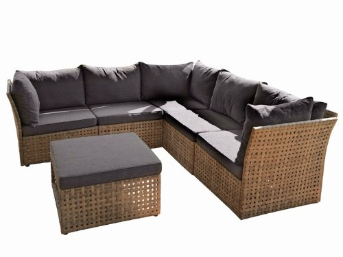 morinno lounge sitzgruppe gartenlounge 6er set poly rattan grau online kaufen bei woonio. Black Bedroom Furniture Sets. Home Design Ideas