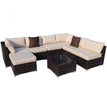 Polyrattan-Gartenmbel-25-tlg-Polyrattan-Gartenmbelset-Sofa-Sitzgruppe-Alu-Rattan-braun-mix-inkl-Kissen-0