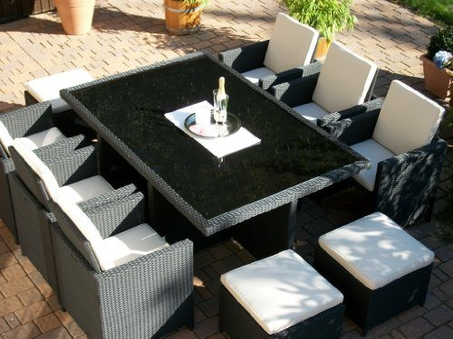 polyrattan rattan geflecht garten sitzgruppe toscana xl in schwarz tisch 6 sessel 3 hocker. Black Bedroom Furniture Sets. Home Design Ideas