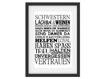 Shabby-Vintage-Kunstdruck-SCHWESTERN-Poster-Bttenpapier-Digitaldruck-Geschenk-DIN-A4-0