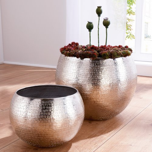 Set Of 2 Indoor Plant Pots Aluminium Silver Online