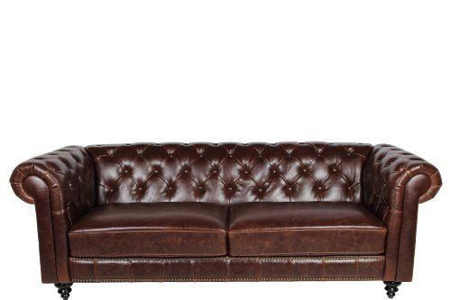 AC-Design-Furniture-43699-Chesterfieldsofa-Henning-3-Sitzer-circa-219-x-78-x-88-cm-Bezug-Bycast-Leder-braun-0