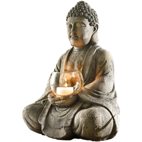 dekofigur buddha mit windlicht grau online kaufen bei woonio. Black Bedroom Furniture Sets. Home Design Ideas