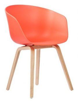 Hay-About-A-Chair-AAC-22-Holz-Vierbeingestell-Eiche-geseift-korallrot-Filzgleiter-0