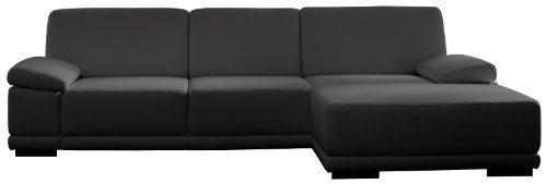 Polsterecke-Corianne3er-Longchair282x80x162-cmKunstleder-Bison-schwarz-0