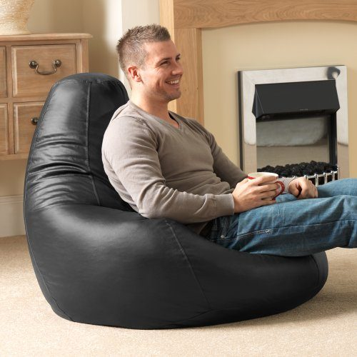 Bean-Bag-Bazaar-Gaming-Sitz-Sack-Designer-Liegesessel-SCHWARZ-Lederimitat-Extra-Large-Sitzsack-Sessel-0
