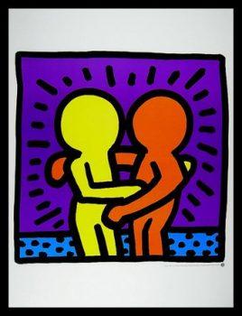 Keith-Haring-Two-Men-Poster-Kunstdruck-Bild-mit-Alu-Rahmen-in-schwarz-860x660cm-kostenloser-Versand-0