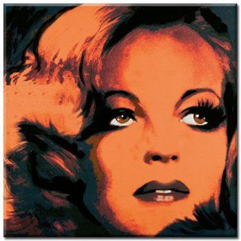 ROMY-SCHNEIDER-4-Digitaldruck-Gicle-auf-Leinwand-mit-Keilrahmen-gerahmt-Portrait-Variation-in-Ocker-Rosa-Pop-Art-im-Stile-Andy-Warhols-Starportrait-Serien-Bild-von-Gnter-Edlinger-Kunstartikel-Leinwand-0