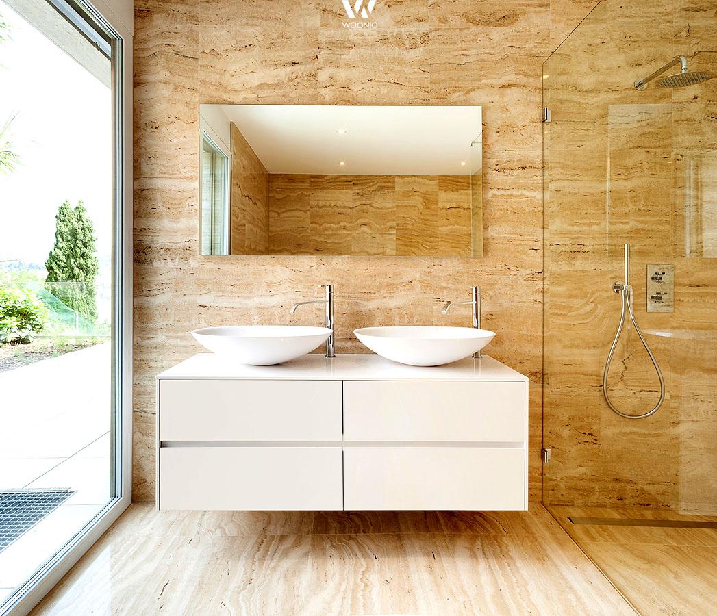 puristische m bel kombiniert mit natursteinw nden und holzb den wohnidee by woonio. Black Bedroom Furniture Sets. Home Design Ideas