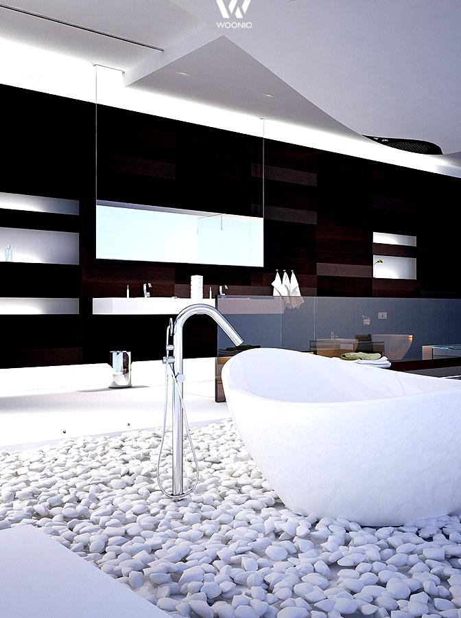 die wei en steine am boden geben diesem futuristischen badezimmer tats chlich noch etwas. Black Bedroom Furniture Sets. Home Design Ideas