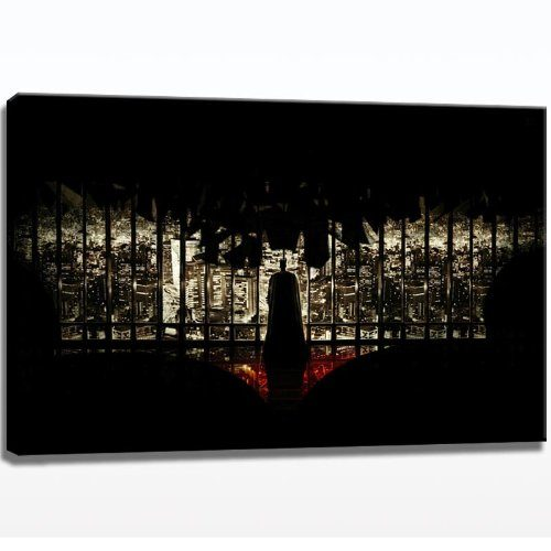 Batman-Skyline-Bild-auf-Leinwand-120cm-x-80cm-Leinwandbild-XXL-fertig-gerahmter-Kunstdruck-zum-aufhngen-bereit-0