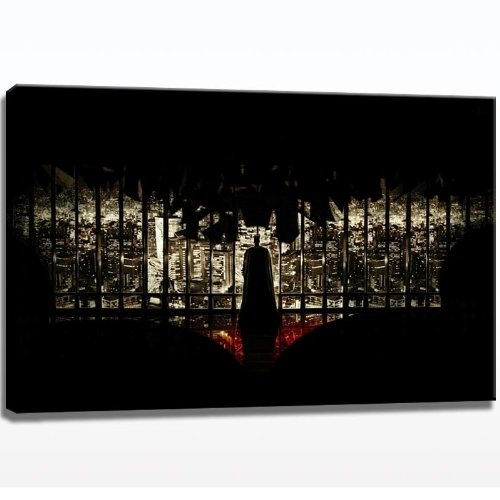 batman skyline bild auf leinwand 120cm x 80cm leinwandbild xxl fertig gerahmter kunstdruck. Black Bedroom Furniture Sets. Home Design Ideas