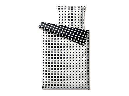 bettw sche 140x200 cm satingewebt kreuzmotiv schwarz wei super soft inkl daunenkissen. Black Bedroom Furniture Sets. Home Design Ideas