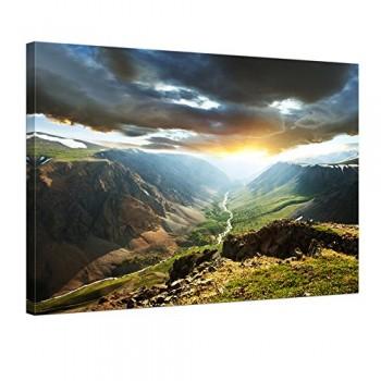 Bilderdepot24-Keilrahmenbild-Berge-mit-Sonnenuntergang-120x90-cm-1-teilig-fertig-gerahmt-direkt-vom-Hersteller-0