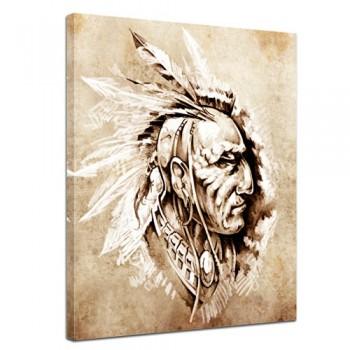 Bilderdepot24-Keilrahmenbild-Indianer-II-Tattoo-Art-90x120-cm-1-teilig-fertig-gerahmt-direkt-vom-Hersteller-0
