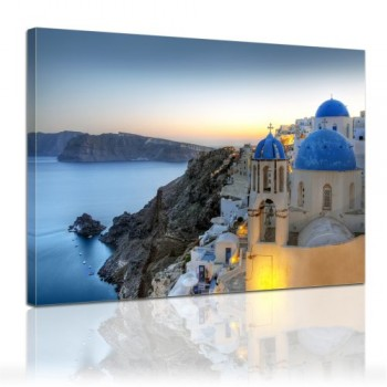 Bilderdepot24-Leinwandbild-Santorini-am-Abend-120x90cm-fertig-gerahmt-direkt-vom-Hersteller-0