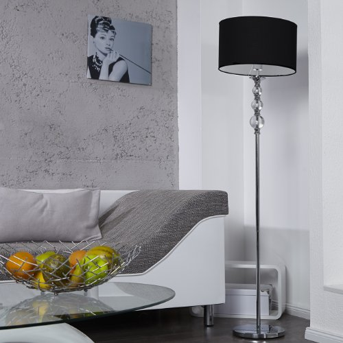 cag design retro lounge stehlampe stehleuchte kampen schwarz chrom 160cm h he online kaufen. Black Bedroom Furniture Sets. Home Design Ideas