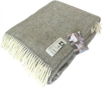 Creme-graue-Fischgrat-Streifen-Wolldecke-aus-100-naturbelassener-skandinavischer-Schurwolle-ca-200x130cm-mit-Fransen-800g-0