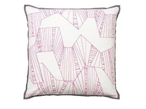 Dekoratives-Sofakissen-Mono-Graphic-50-cm-x-50-cm-weipink-reine-Baumwolle-0