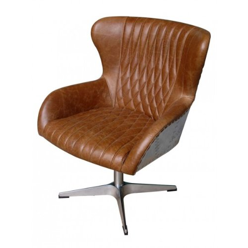 drehsessel albany vintage leder columbia brown aluminium. Black Bedroom Furniture Sets. Home Design Ideas