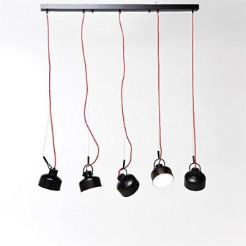 FABRIKLEUCHTE-FAKTOR-120x95-cm-Hngelampe-rotes-Kabel-5-Lampenschirme-schwarz-0