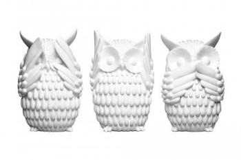 Premier-Housewares-1410760-Eulen-3-er-Set-wei-Gloss-0