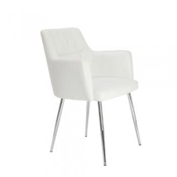 Premier-Housewares-2403162-Stuhl-Kunstleder-verchromte-Beine-595-x-60-x-79-cm-Wei-0
