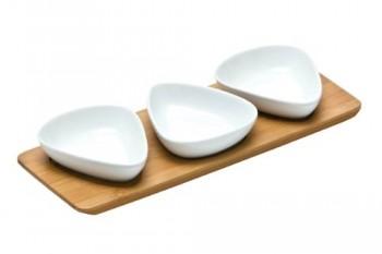 Premier-Housewares-Dreieckige-Snackschalen-aus-Porzellan-mit-Tablett-aus-Bambusholz-3-Stck-wei-0