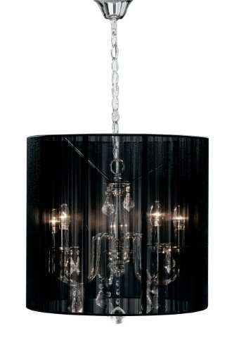 premier housewares kronleuchter 5 armig mit lampenschirm aus stoff schwarz online kaufen bei woonio. Black Bedroom Furniture Sets. Home Design Ideas