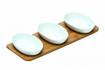 Premier-Housewares-Ovale-Snackschalen-aus-Porzellan-mit-Tablett-aus-Bambusholz-3-Stck-wei-0